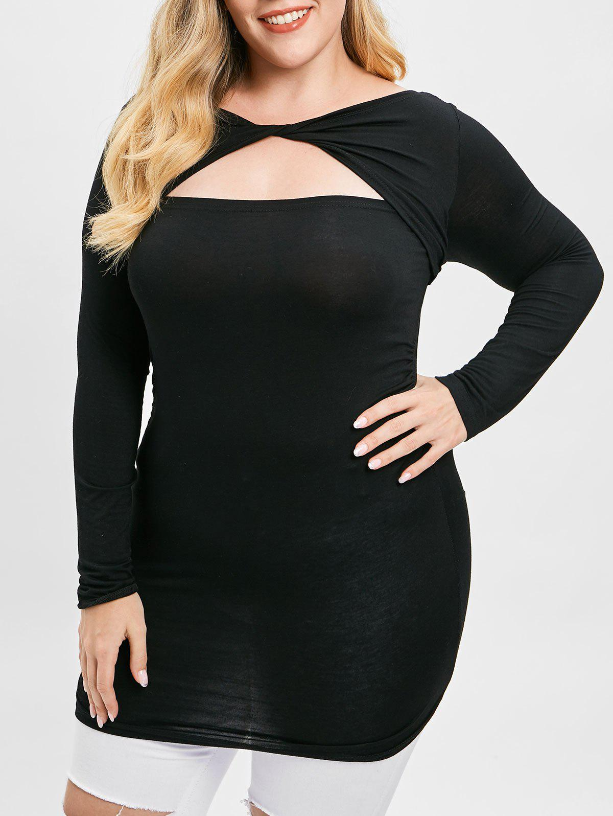 Chic Plus Size Ruffles Twisted Front Cut Out T-shirt