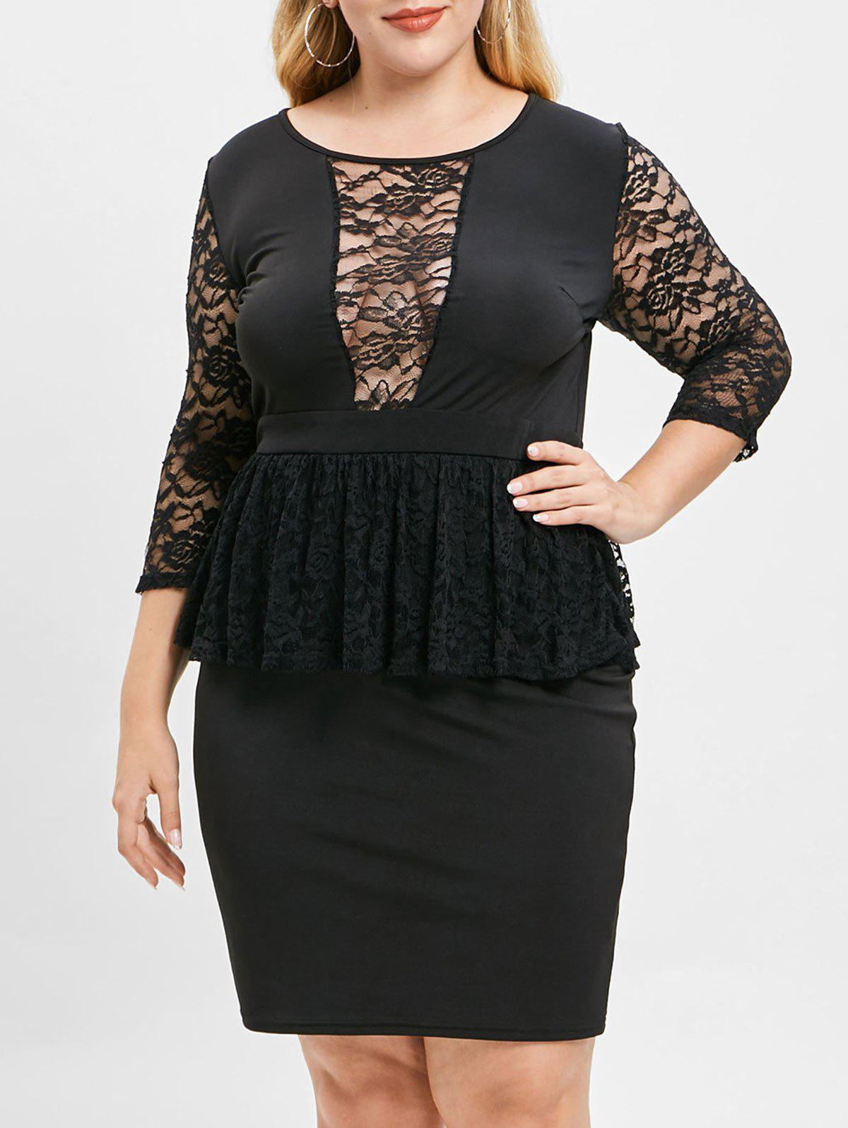 5c6b790fda7 45% OFF  Plus Size Lace Spliced Knee Length Peplum Dress