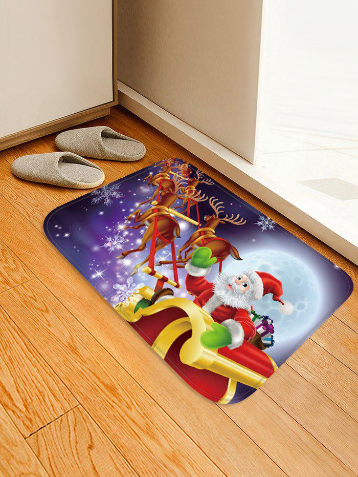 Hot Christmas Moon Night Sleigh Pattern Water Absorption Area Rug