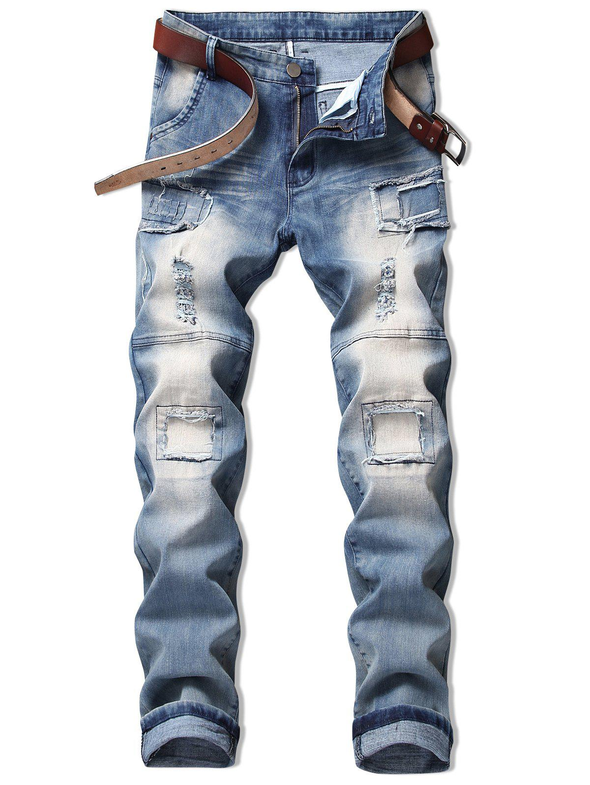 Discount Vintage Hole Patchwork Ripped Faded Jeans