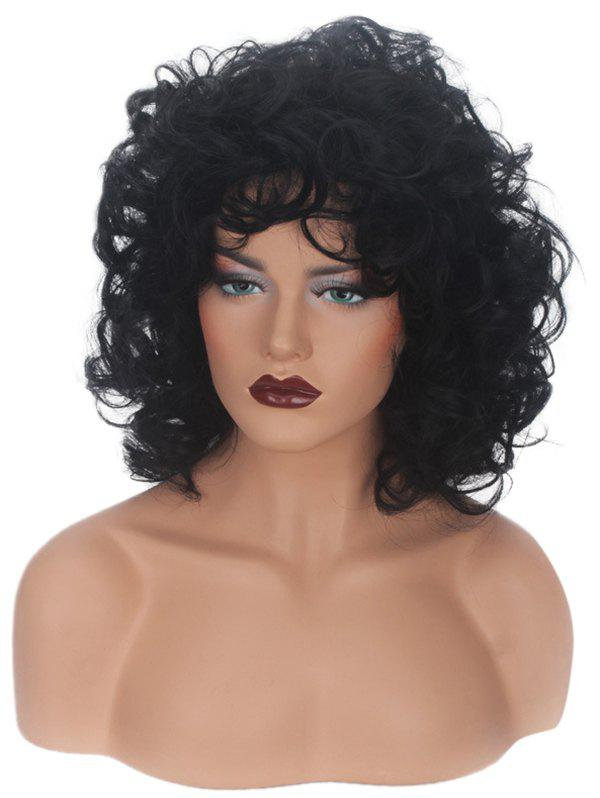 Shop Medium Inclined Bang Curly Capless Synthetic Wig