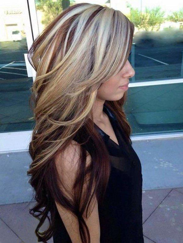 Hot Long Side Bang Capless Colormix Wavy Party Synthetic Wig