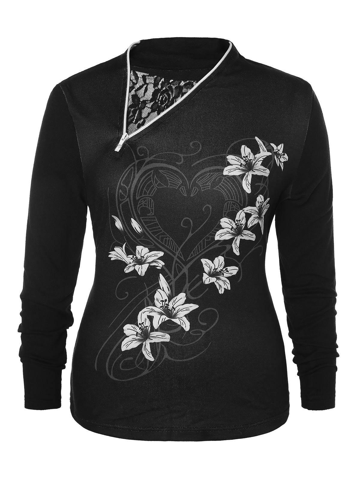 Online Plus Size Floral Zipper T-shirt