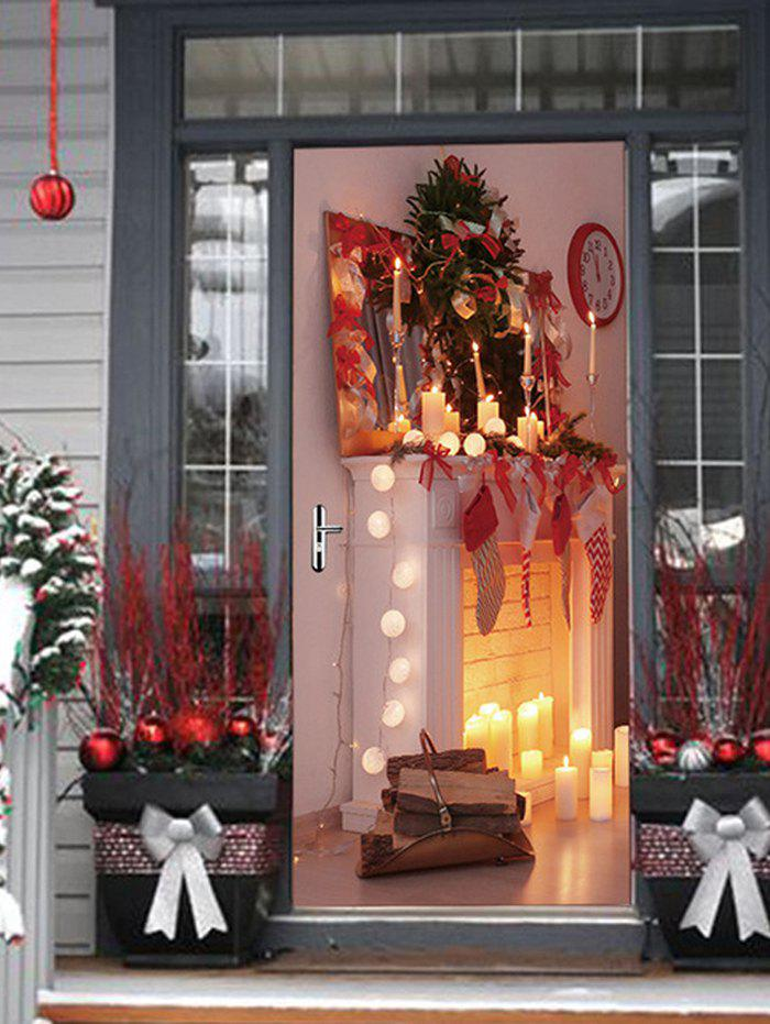 Shops Christmas Fireplace Candle Print Door Stickers
