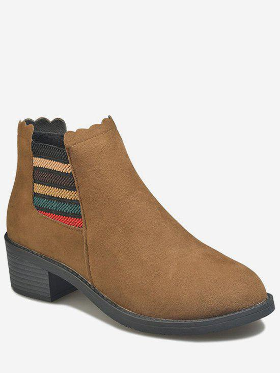 Cheap Striped Chunky Heel Chelsea Ankle Boots