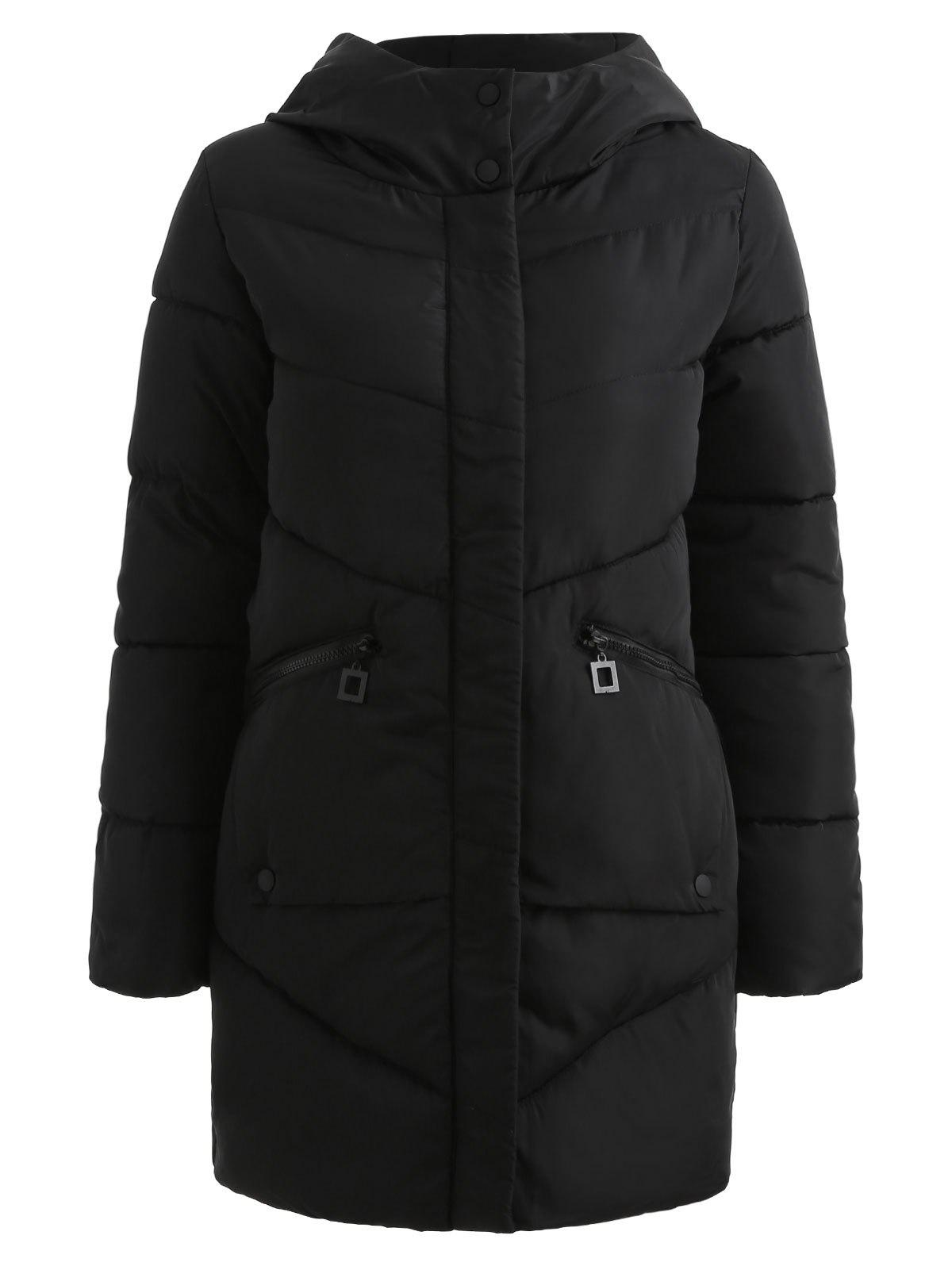 Chic Hooded Pockets Long Padded Coat