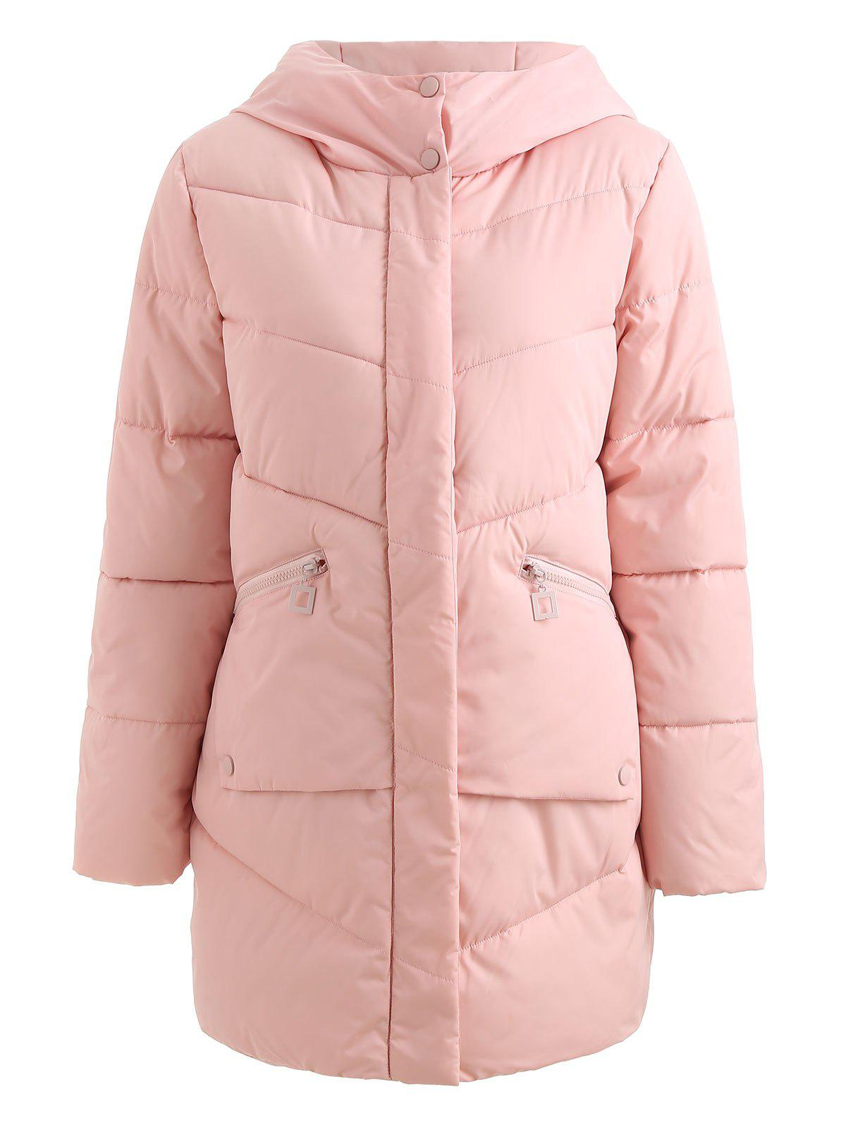 Affordable Hooded Pockets Long Padded Coat