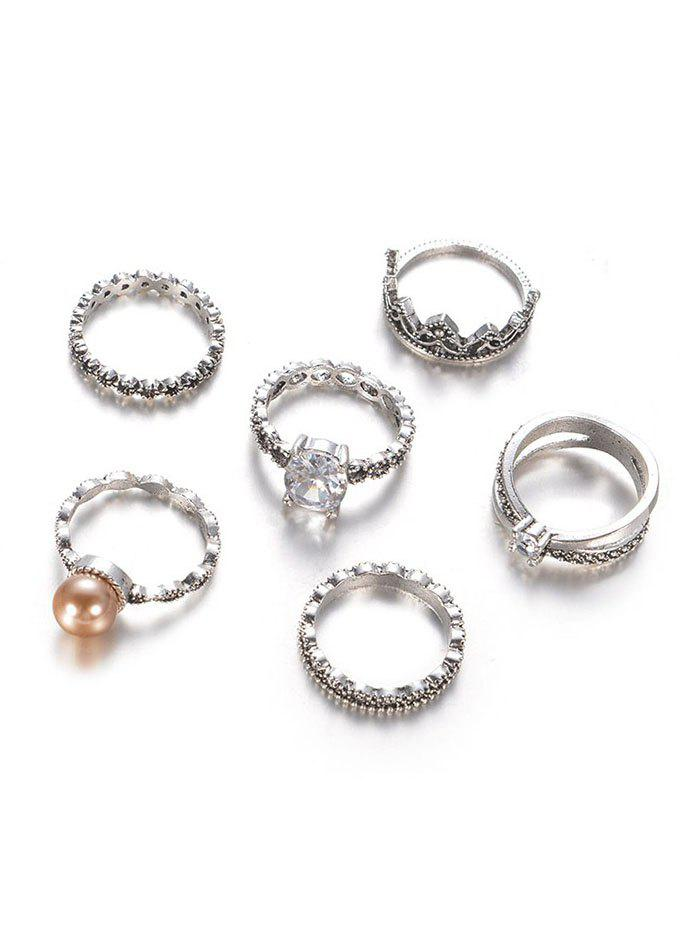 New Crown Pattern and Round Rhinestone Rings Set