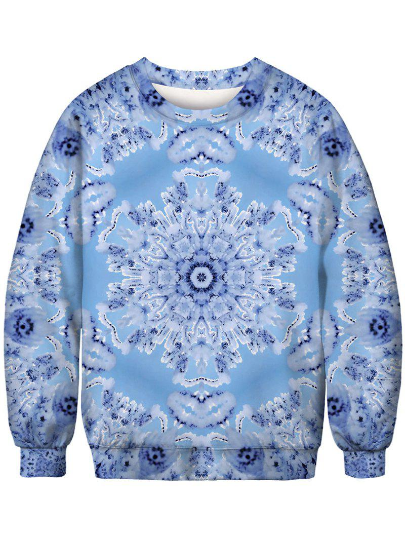 Outfit Snowflake Printed Crew Neck Pullover Sweatshirt