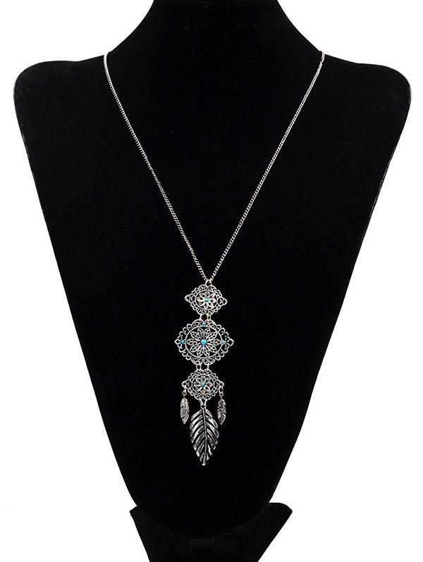 Trendy Leaf Feather Shape Long Alloy Necklace