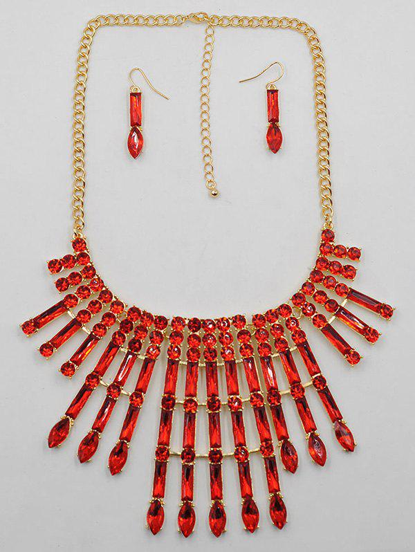 Chic Rhinestone Statement Necklace Drop Earrings Set
