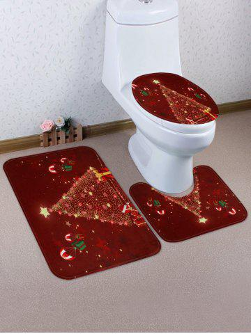 Christmas Stars Tree Pattern 3 Pcs Toilet Mat Set