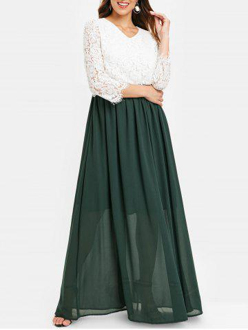 Scalloped Lace Bodice Two Tone Maxi Dress - DEEP GREEN - M