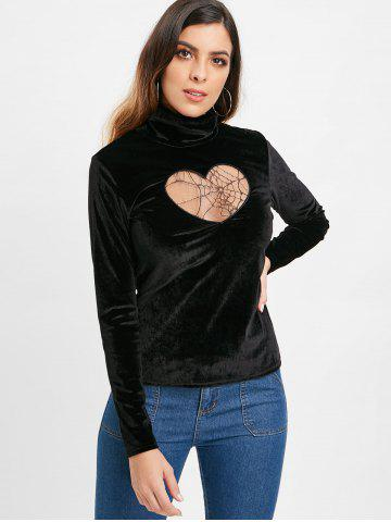 Turtleneck Heart Mesh Design Velvet Top