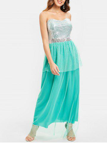 c6e955a8f65 75% OFF  Rhinestone One Shoulder Ombre Formal Maxi Engagement Dress ...
