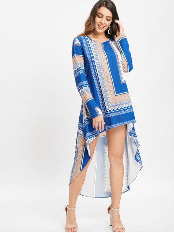 Tribal Print High Low Long Blouse Dress