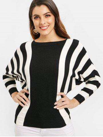 Ribbed Batwing Sleeve Striped Sweater