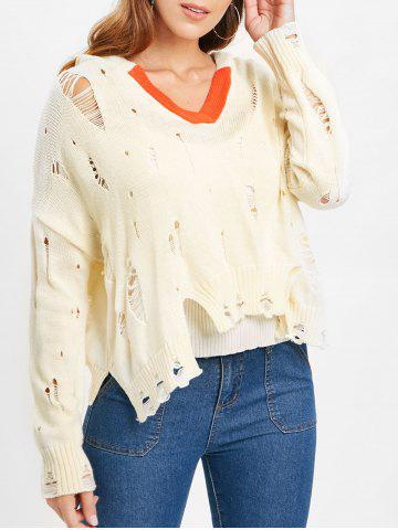 Drop Shoulder Distressed Hooded Sweater - WARM WHITE - L