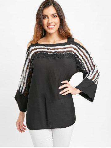 Cold Shoulder Lace Panel Striped Blouse