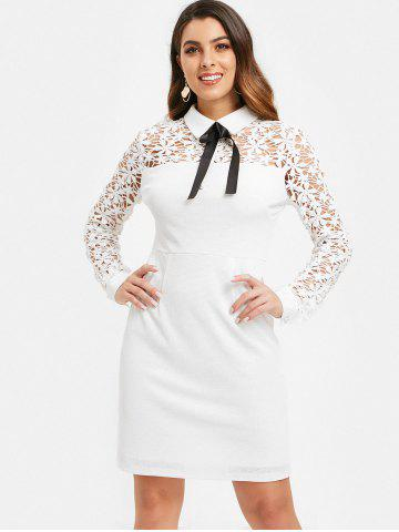 Floral Lace Panel Sheath Dress with Bowknot