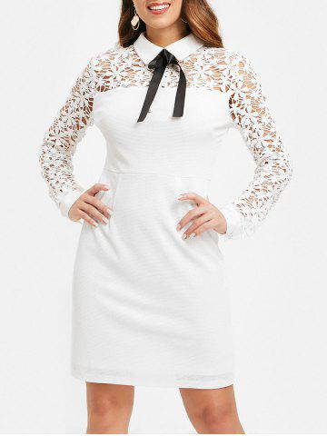 Floral Lace Panel Sheath Dress with Bowknot - WHITE - M