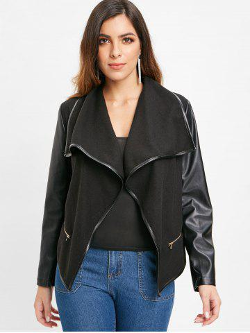PU Leather Panel Jacket with Zipper