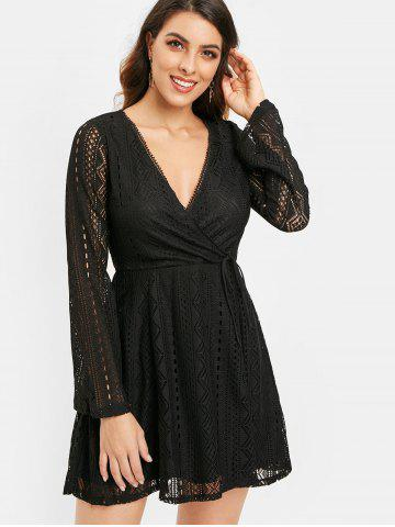 Long Sleeve Lace Surplice Dress
