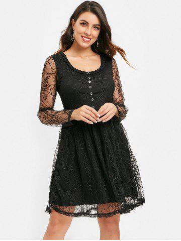 Half Buttons Spider Web Lace Dress