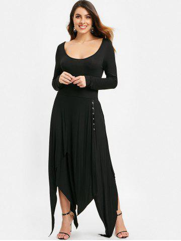Criss Cross Handkerchief Trim Midi Dress