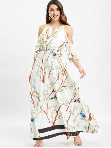 Branch Stirpe Print Cold Shoulder Maxi Dress