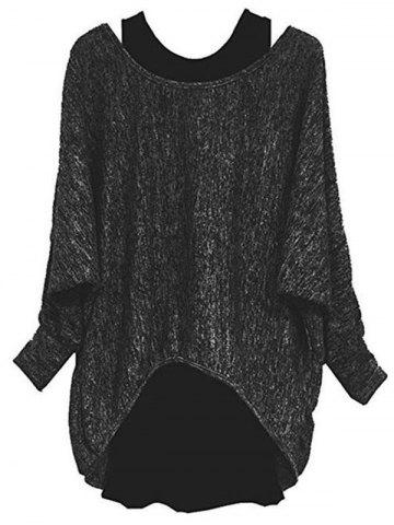Plus Size Batwing Sleeve Two Piece Pullover Sweater - BLACK - L