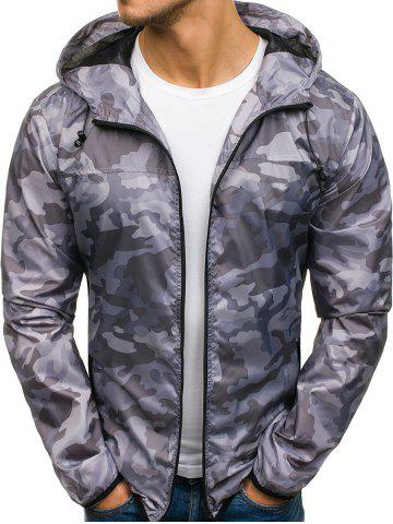 Camouflage Pattern Zip Fly Hooded Jacket