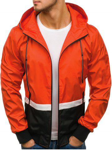 Contract Color Drawstring Hooded Jacket