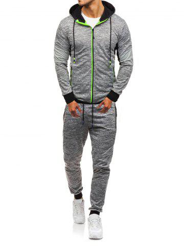 Color Spliced Hoodie and Drawstring Jogger Pants Twinset