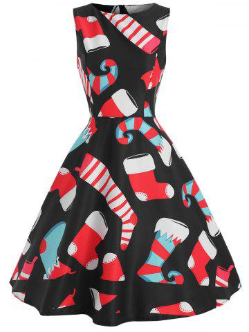 Vintage Christmas Graphic Sleeveless Dress
