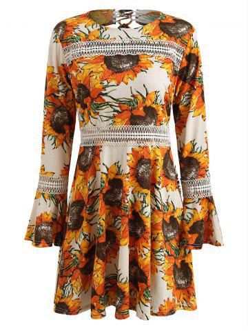Cut Out Sunflower Print Skater Dress