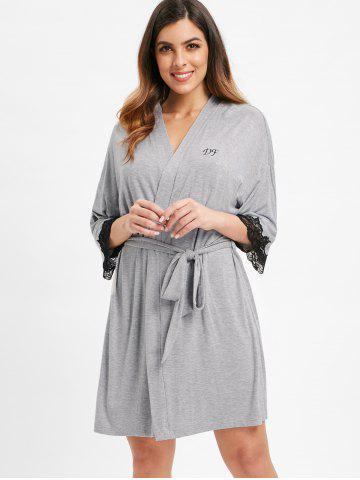 Belted Lace Insert Sleeping Robe