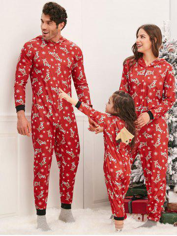 Family Christmas Elk Hooded Jumpsuit Pajama