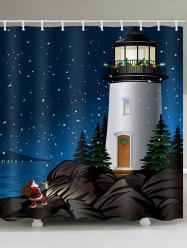 Lighthouse Father Christmas Pattern Waterproof Shower Curtain -