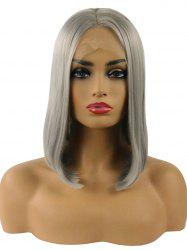 Middle Part Straight Short Bob Lace Front Synthetic Wig -