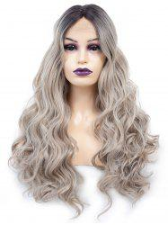 Middle Part Long Colormix Wavy Lace Front Synthetic Wig -
