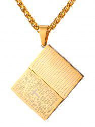 Stainless Steel Bible Shape Pendant Necklace -