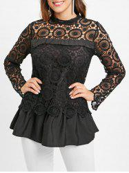 Lace Spliced Long Blouse -