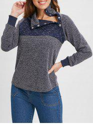 High Neck Buttons Color Block Long Sleeves Top -