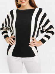 Ribbed Batwing Sleeve Striped Sweater -