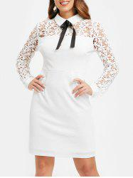Floral Lace Panel Sheath Dress with Bowknot -
