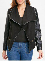 PU Leather Panel Jacket with Zipper -