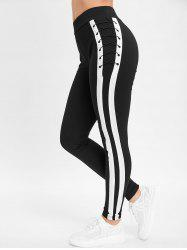 Criss Cross Stripe Trim Slim Fit Pants -