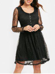Half Buttons Spider Web Lace Dress -