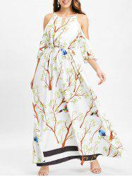 Branch Stirpe Print Cold Shoulder Maxi Dress -